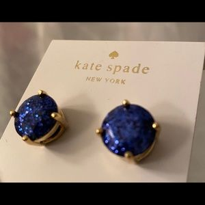 Late Spade Stud sparkle blue earrings NWT